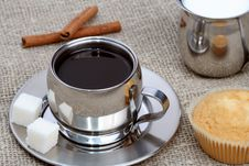 Free Cup Of Black Coffee With Muffin, Milk And Cinnamon Stock Image - 4207741