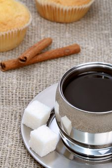 Free Cup Of Black Coffee With Muffin And Cinnamon Stock Photography - 4207752