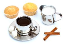 Free Cup Of Black Coffee With Muffin, Milk And Cinnamon Stock Photography - 4207762