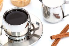 Free Cup Of Black Coffee With Muffin, Milk And Cinnamon Royalty Free Stock Photos - 4207768