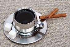 Free Cup Of Black Coffee With Cinnamon Stock Images - 4207804