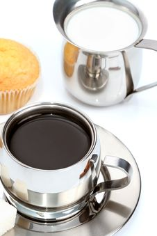 Free Cup Of Black Coffee With Muffin And Milk Royalty Free Stock Photo - 4207805