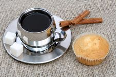 Free Cup Of Black Coffee With Muffin And Cinnamon Stock Images - 4207824