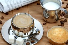 Free Cup Of Coffee With Muffin And Milk Royalty Free Stock Photo - 4207835