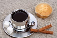 Free Cup Of Black Coffee With Muffin And Cinnamon Stock Photo - 4207840