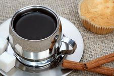 Free Cup Of Black Coffee With Muffin And Cinnamon Stock Photos - 4207863