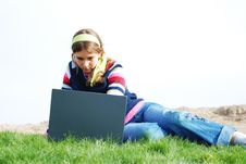 Free Young Girl And Laptop Stock Photo - 4208100