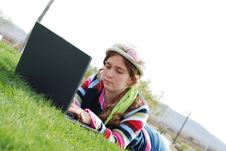 Free Young Girl And Laptop Royalty Free Stock Photo - 4208105