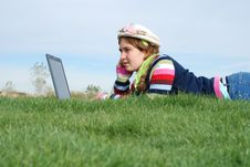 Free Young Girl And Laptop Royalty Free Stock Image - 4208106