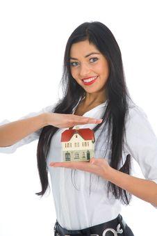 Free Business Woman Advertises Real Estate Stock Photos - 4209483