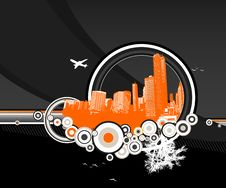 City And Nature With Circles On Black. Royalty Free Stock Photos