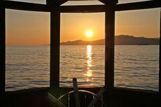Free Vancouver Bay Sunset, Steering Wheel Royalty Free Stock Image - 42040396
