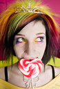 Free Alternative Girl With A Heart Lollipop Stock Photo - 4215740