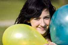 Cutie With Balloons Stock Photos