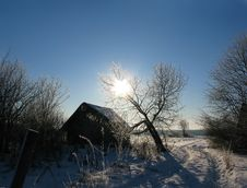 Winter In The Village Royalty Free Stock Images