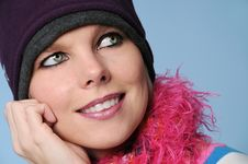 Free Portrait Of Winter Girl Smiling Stock Images - 4214834