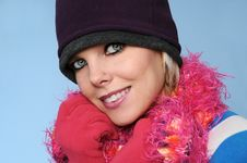Free Portrait Of Winter Girl Smiling Stock Image - 4214891