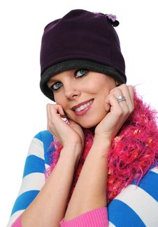 Beautiful Girl With Winter Hat Stock Photography