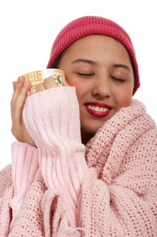 Free Young Lady Tying To Get Warm Stock Photography - 4216322