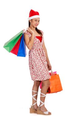 Free Chritmas Girl With Shopping Bags Stock Photo - 4216880