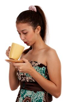 Free Lovely Female With Coffee Royalty Free Stock Images - 4216889