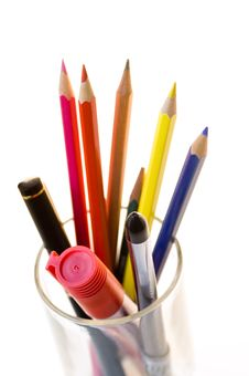 Free Pencils With A Glass Royalty Free Stock Photos - 4216898
