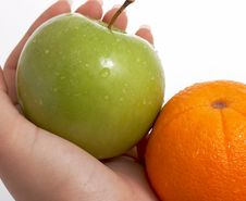 Fresh Green Apple And Orange Stock Image