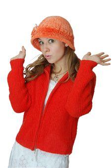 Girl In Orange Cap Stock Images