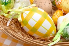 Free Easter Eggs In A Basket Stock Image - 4219191