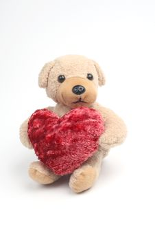 Teddy Bear With Red Heart Royalty Free Stock Image