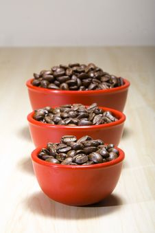 Coffee Beans In Red Bowls  2 Stock Image