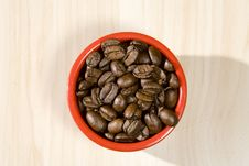 Coffee Beans In Red Bowl1 Stock Images