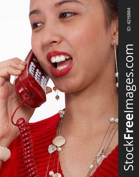 Schoolgirl on the phone