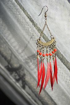 Free Red Earring With Feather Stock Photos - 4220293