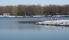 Benches Overlooking Lake In Winter Stock Photography