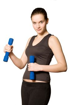 Free Young Girl With Weights Stock Photo - 4221240