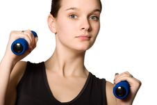 Free Young Girl Posing With Weights Stock Images - 4221364