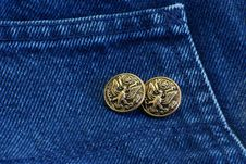 Free Buttons On Denim Royalty Free Stock Images - 4223239