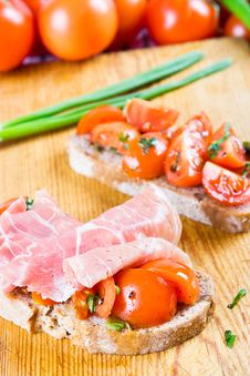 Ham And Tomato Sandwiches Royalty Free Stock Image