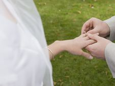 Wedding Ring And Hands Stock Photos