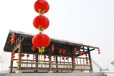 Red Latern And Wood Pavilion Stock Images