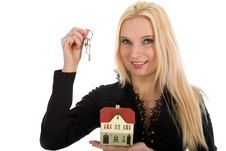 Free Business Woman Advertises Real Estate Stock Images - 4228274