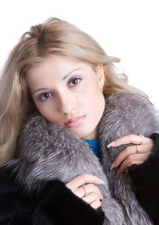 Free Girl In A Fur Royalty Free Stock Photography - 4228947