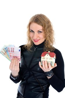 Free Business Woman Advertises Real Estate Royalty Free Stock Images - 4229379