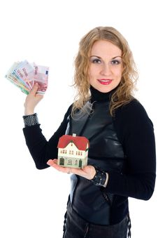 Free Business Woman Advertises Real Estate Royalty Free Stock Image - 4229386