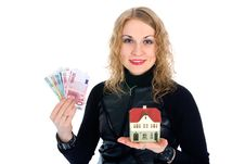 Free Business Woman Advertises Real Estate Royalty Free Stock Photos - 4229388