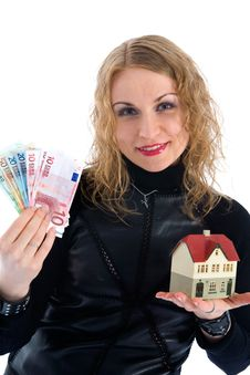 Free Business Woman Advertises Real Estate Royalty Free Stock Image - 4229396