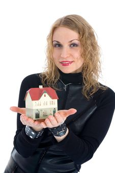 Free Business Woman Advertises Real Estate Stock Image - 4229401