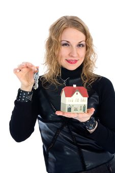 Free Business Woman Advertises Real Estate Stock Photo - 4229410