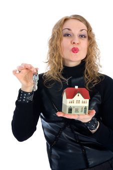 Free Business Woman Advertises Real Estate Royalty Free Stock Image - 4229416